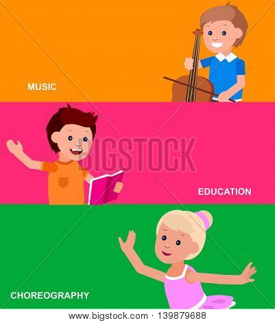 Cute vector character. Happy kid illustration reading a book, playing on contrabass, dancing. Education and child development. Banner for the kindergarten or children club, school of Arts