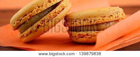 Caramel Macaron Closeup Banner