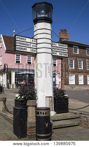 BURY ST EDMUNDS UK - JULY 19TH 2016: An unusual directional sign in Bury St. Edmunds town centre on 19th July 2016.