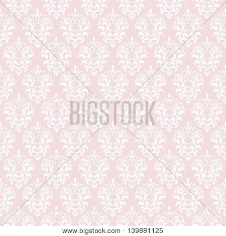 Damask seamless pattern background in pastel pink. For wedding or scrapbook design.