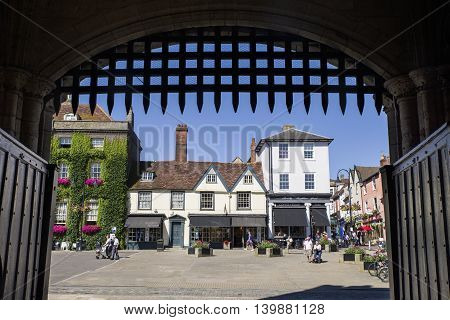 BURY ST EDMUNDS UK - JULY 19TH 2016: A view of Bury St. Edmunds as seen from underneath the Abbey Gate on 19th July 2016.