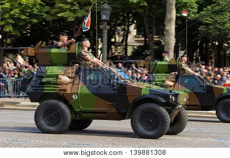 Paris France-July 14 2016 : The military armored car of Bastille Day military parade on Champs Elysees avenue in Paris France.