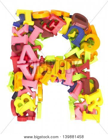 the letter R made from magnetic letters