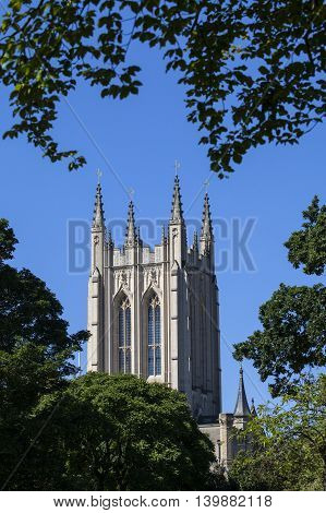 A view of the historic St. Edmundsbury Cathedral from Abbey Gardens in Bury St. Edmunds Suffolk.