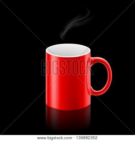 Red office mug with a small stream of smoke above it on black background.