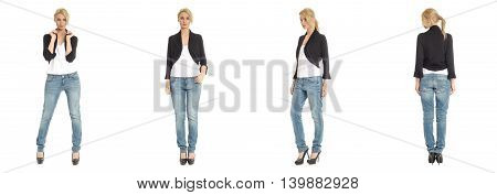 Portrait Of Young Slim Sexy Woman In Jeans Posing Isolated On White