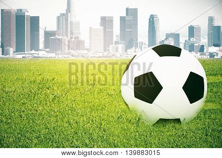 Closeup of football on grass. City background. 3D Rendering