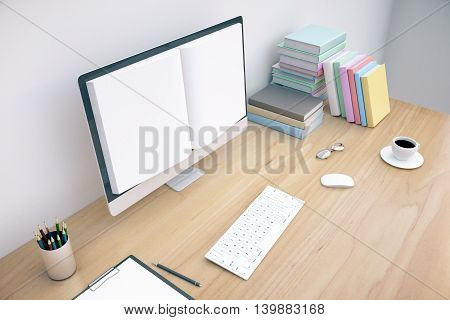 Creative wooden office desktop with book screened computer keyboard coffee cup glasses and stationery items on white concrete wall background. Online education concept. Mock up 3D Rendering