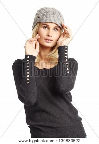 Portrait Of Woman On White Background Wearing Hat