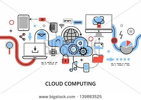 Modern flat thin line design vector illustration concept of cloud computing technologies protect computer networks and remote data storage for graphic and web design