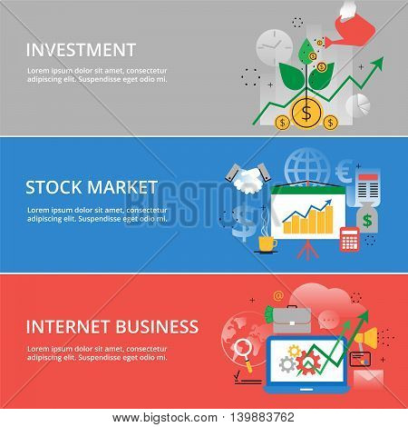 Modern flat thin line design vector illustration infographic concept of investment process stock market and internet business