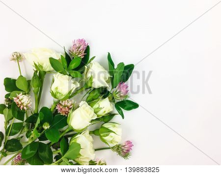 Colorful Bright Bouquet Made Of Roses And Clover Flowers. Flay Lay, Top View