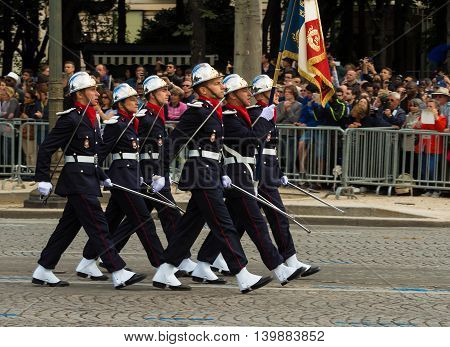 Paris France-July 14 2016 : The French firemen participate in Bastille Day military parade on Champs Elysees avenue in Paris France.