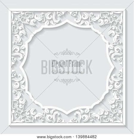 Filigree frame paper cut. Elegant ornate border.