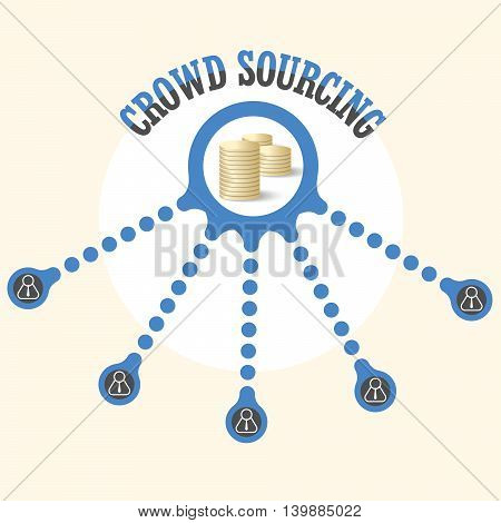 Vector circular object with theme of crowd sourcing