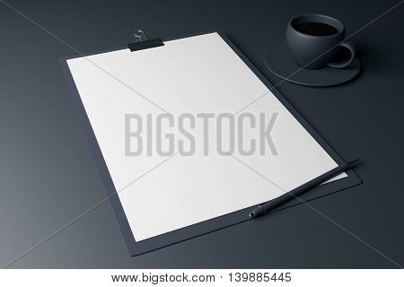 Blank clipboard pen and coffee cup on dark grey background. Mock up 3D Rendering
