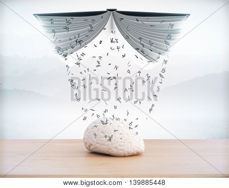 Education concept with information pouring out of book into brain on abstract landscape background. 3D Rendering