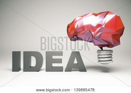 Creative idea concept with abstract red polygonal brain lightbulb on grey background. 3D Rendering