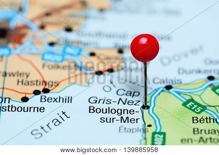 Boulogne-sur-Mer pinned on a map of France