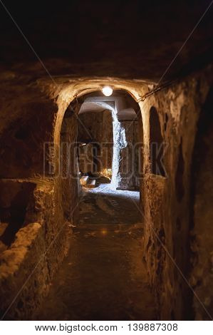 ancient christian cemetery (catacombs) of Saint Paul. Rabat Malta.