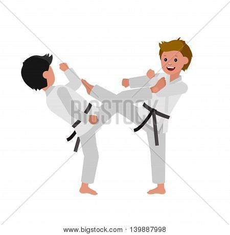 Cute vector character child. Illustration for martial art poster. Kid wearing kimono and karate training