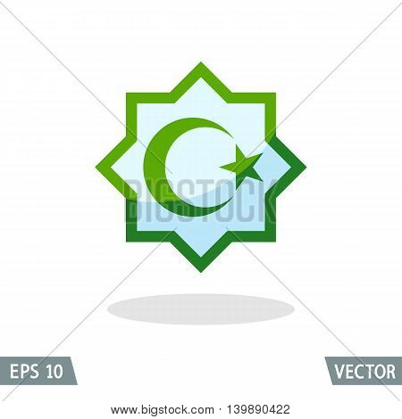 Symbol of Islam star and crescent in the octagon. Color icon vector illustration for apps and websites