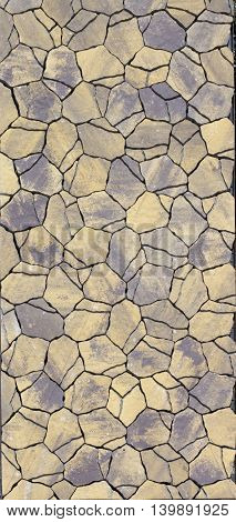 Pavement Chaotic Shapes Of Yellow Blue And Gray