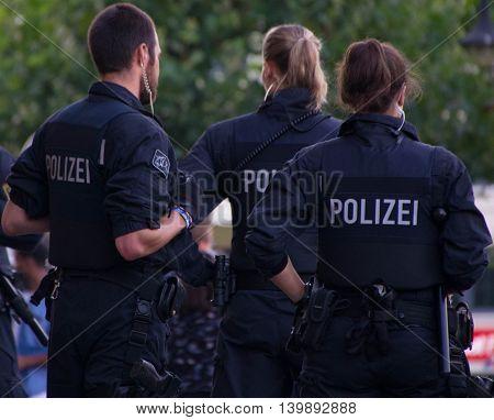 Frankfurt am Main, Germany - July 25, 2016: Police patrol in Frankfurt am Main railway station.