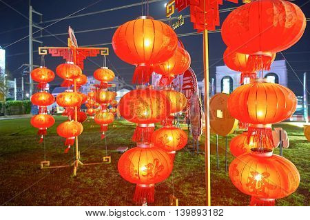 PATTAYA, THAILAND - CIRCA FEBRUARY, 2016: Chinese New Year decorations at night. Chinese New Year is an important Chinese festival celebrated at the turn of the traditional lunisolar Chinese calendar.