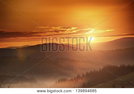 Sunrise In Carpathian Mountain (borzava, Ukraine 2016)