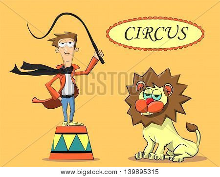 Circus Performer And The Lion
