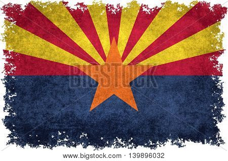 State flag of Arizona with distressed worn textures and edges