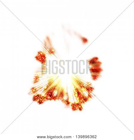 Powerful explosion on white background