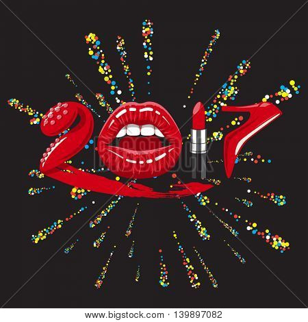 2017 year. Red glossy lips of open mouth, makeup lipstick, high heels shoes. Vector illustration