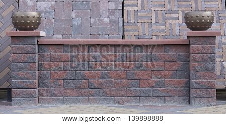 Fence Of Concrete Bricks, Texture, Advertising,