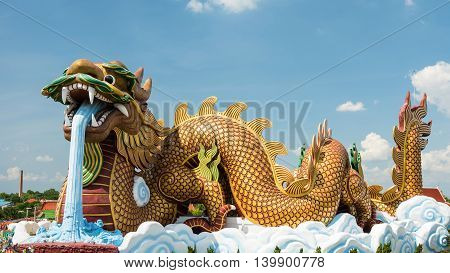 Dragon Statue Against Blue Sky