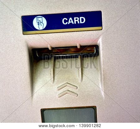 Used Bank ATM card slot place close up