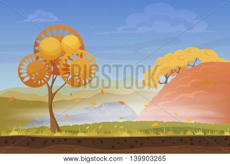 Cartoon nature autumn landscape in storm rain wind cold day with grass, trees, cloudy sky and mountains hills. Vector game style illustration. Background for games