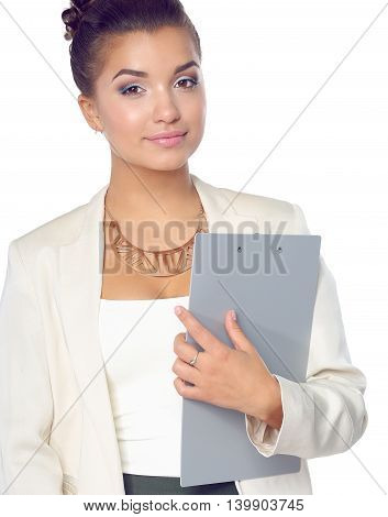 Portrait of business woman standing with folder.