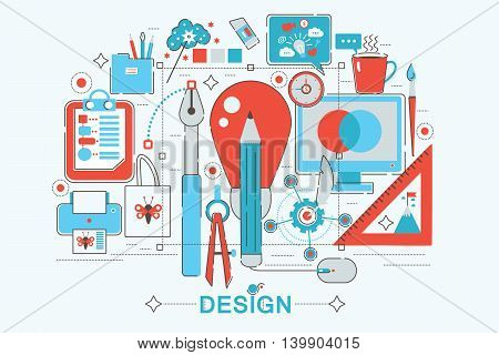 Modern graphic flat line design style infographics concept of Design vision with icons, for website, presentation and poster