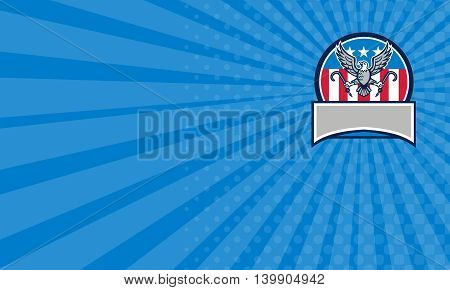 Business card showing illustration of an american bald eagle looking to the side clutching towing j hook with its talon viewed from front set inside circle and banner in bottom with usa stars and stripes flag in the background done in retro style.