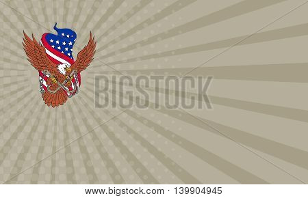 Business card showing Drawing sketch style illustration of an american bald eagle wings flying looking to the side clutching with its talon towing j hooks with chains viewed from front with an unfurled usa american stars and stripes flag in the background