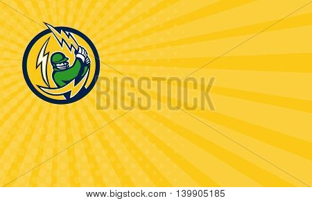 Business card showing illustration of a cricket player batsman with lightning bat batting viewed from front set inside circle on isolated background done in retro style.