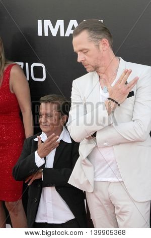 Deep Roy and Simon Pegg attend at the Star TreK Beyond  premiere during Comic Con on July 20, 2016 at the Embarcadero Marina Park South in San Diego, CA.