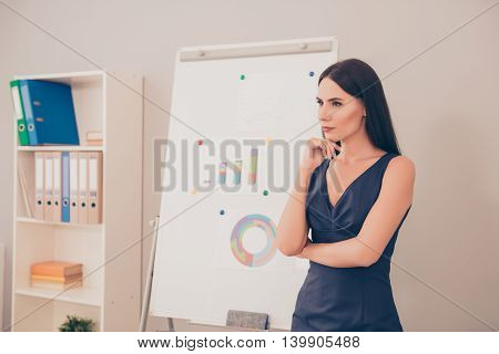 Minded Businesswoman Standing Next To Whiteboard And Listening Question