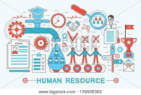 Modern Flat thin Line design Human resource concept for web banner website, presentation, flyer and poster