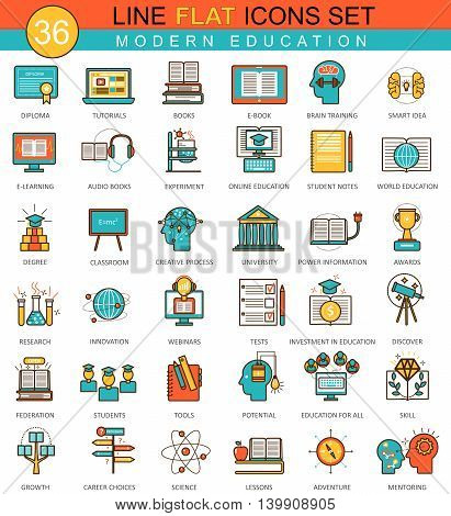 Vector Modern online education flat line icon set. Modern elegant style design for web