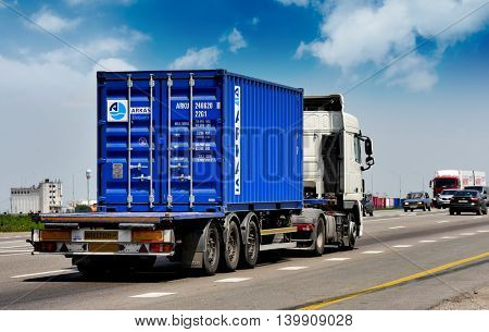 ROSTOV / DON. RUSSIA. M4-DON. 23.06.2016. The trailer transports cars on the highway M4 Don. June 16. Russia