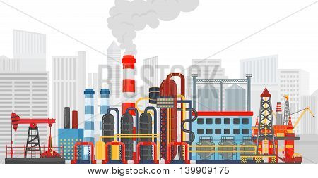 Plant factory on the city background. Industrial factory landscape. Oil gas industry