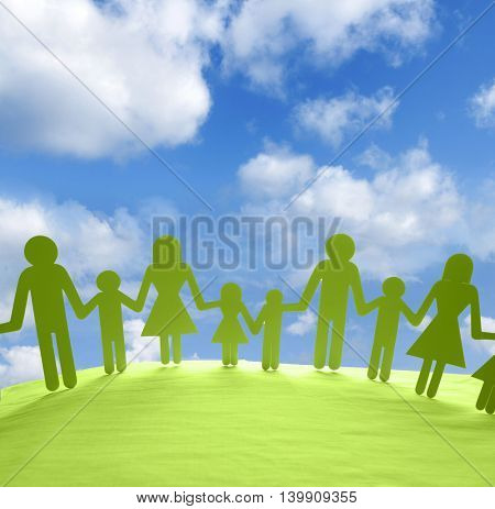 Family united together holding hands